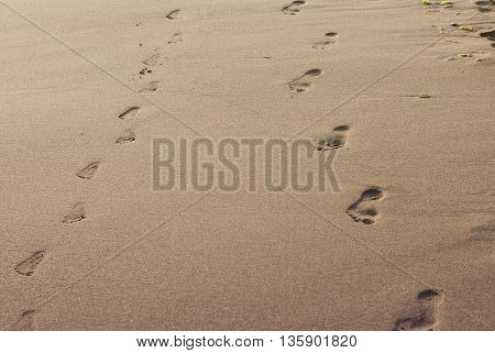 Traces of adult and children feet in the sand on the beach. Vacation poster concept