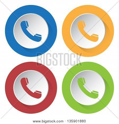 set of four colored icons - telephone handset