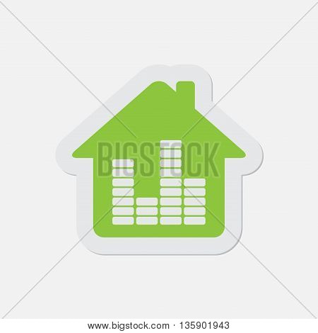 simple green icon with contour and shadow - house with equalizer on a white background