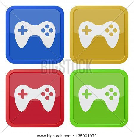 set of four colored square icons with gamepad