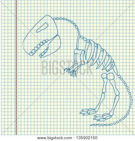 Tyrannosaurus rex fossil. Dinosaurus skeleton bones. Hand drawn vector stock illustration. Sheet ballpen drawing.