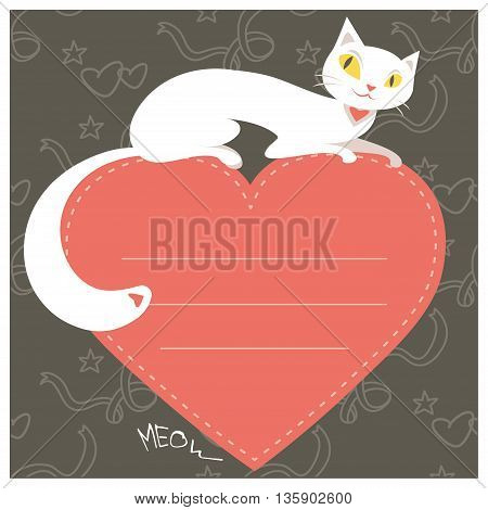 Background with white cat and red heart and place for text vector illustration