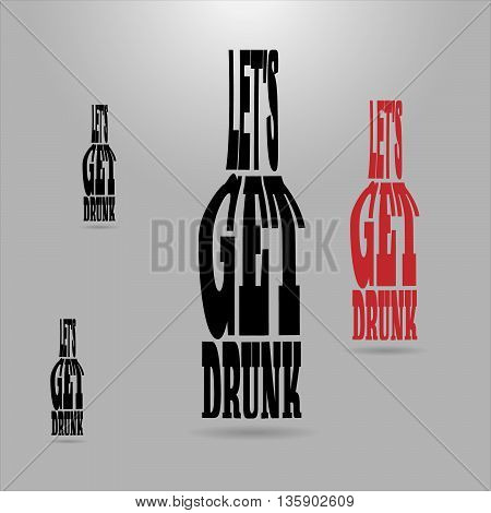 Shaped letters vector. Text wrap effect. Flask created with envelope distort feature.