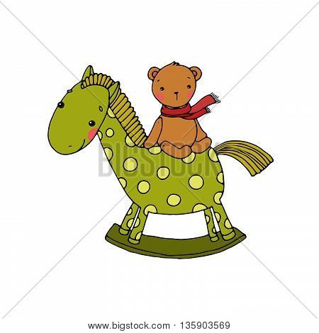 Horse and Bear. Kids toys. Hand drawn vector illustration on a white background.