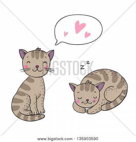 Cute cartoon cats. Hand drawing isolated objects on white background. Vector illustration.
