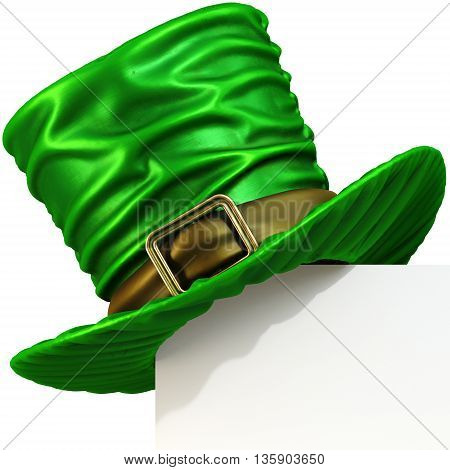 Page corner with green Leprechaun hat. isolated on white background. 3D illustration.
