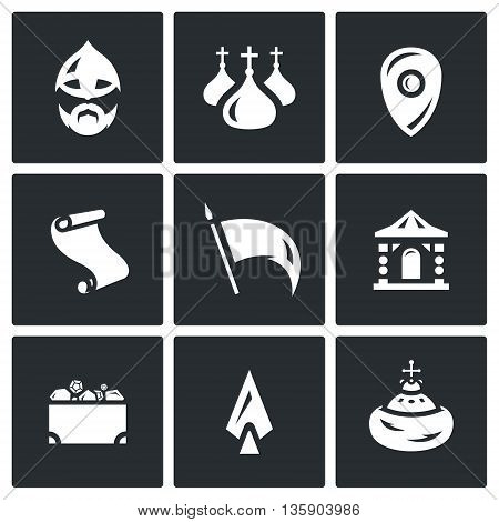 Collection of architecture, people, culture, symbols on a white background