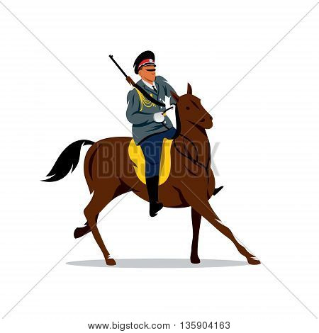 Soldier on horseback in national traditional costume. Isolated on a white background
