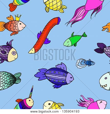 Cartoon funny fish. Hand drawn vector stock illustration. Seamless background pattern.