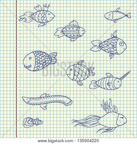 Cartoon funny fish. Hand drawn vector stock illustration. Sheet ballpen drawing.
