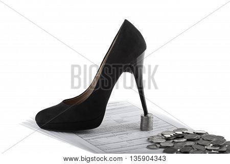 Elegant high heel shoe business documents and one polish zloty coins. Businesswoman concept on white background.