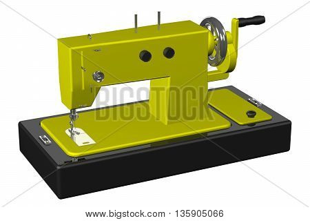 Sewing machine isolated on white background. 3D rendering.