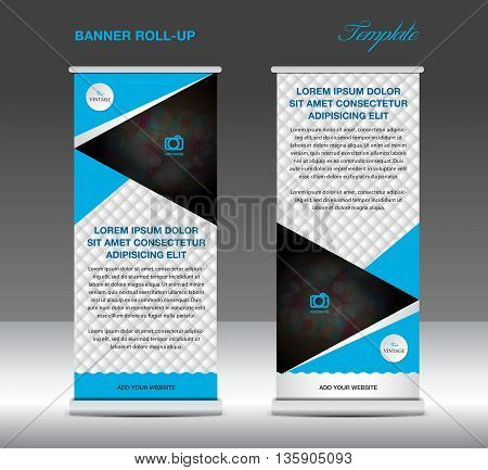 Blue and white Roll up banner stand template vintage banner for business