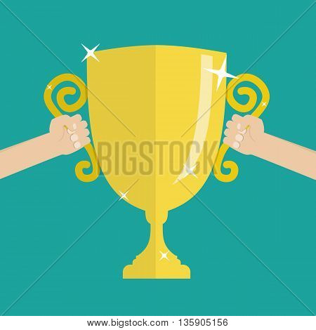 Soccer football gold trophy for winner. hands holding gold winners cup. vector illustration on green background in flat style