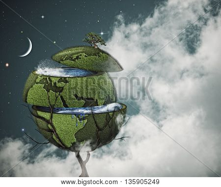 Global warming concept. Sliced Earth on the world tree against cloudy night skies