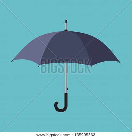 Black umbrella icon. Vector illustration in flat style isolated on light background