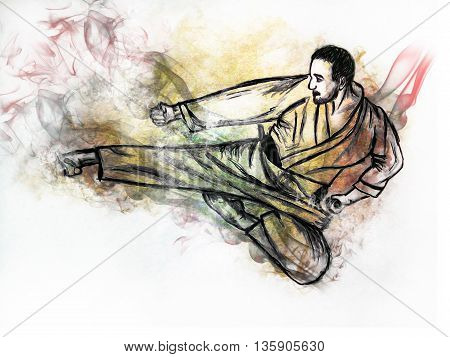 Illustration karate man. Hand drawn picture - a sketch