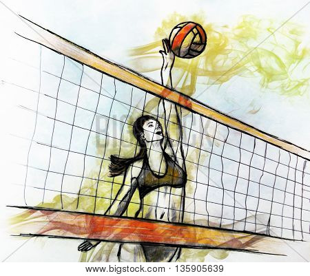 illustration of woman playing beach volleyball. Sketch