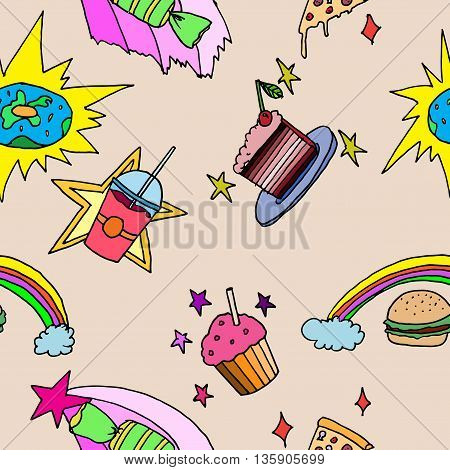 Magic food set. Hand drawn vector stock illustration. Seamless background pattern.