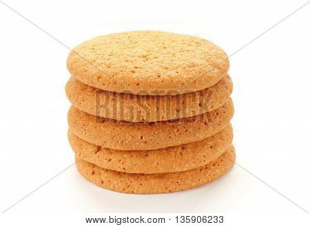 Corn cookies stack isolated on white background