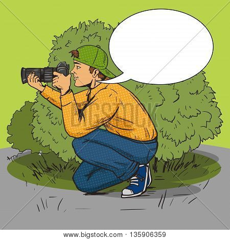 Paparazzi photographer pop art style vector illustration. Comic book style imitation