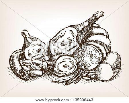 Meat products still life sketch style vector illustration. Old engraving imitation.