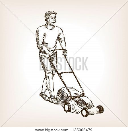 Lawnmower sketch style vector illustration. Old hand drawn engraving imitation.