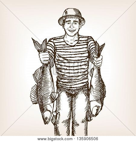 Fisherman with fish sketch style vector illustration. Old hand drawn engraving imitation.