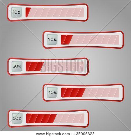 Percentage progress monitoring vectors. Five vector diagrams.