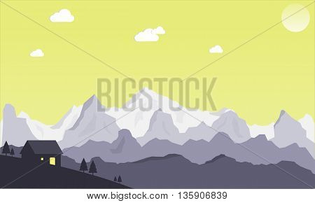 Moiuntain landscape scene vector. Nature scene with cloudy sky. View of mountains with little cottage.