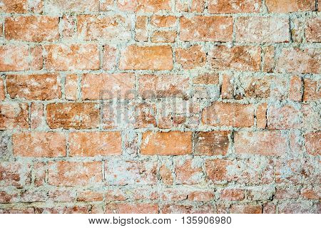Background of old brick wall with grout. Horizontally.