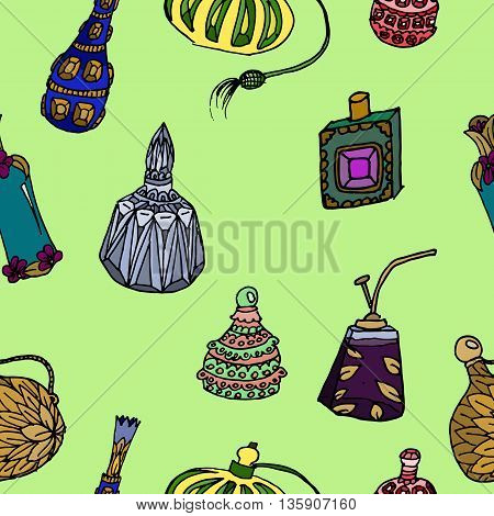 Parfume bottles set. Hand drawn vector stock illustration. Seamless background pattern.
