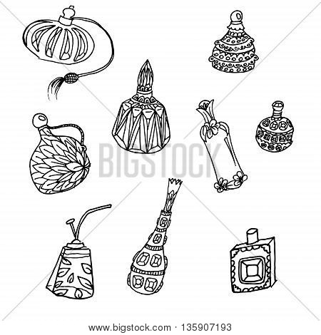 Parfume bottles set. Hand drawn vector stock illustration. Black and white whiteboard drawing.