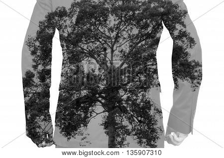 Double Exposure of Businessman with Big Tree as Human bone in Healthy Medical Concept
