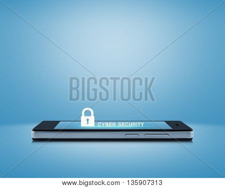 Key icon and cyber security text on modern smart phone screen over light blue background Cyber security concept