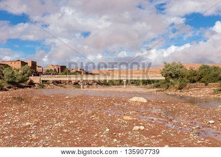 Asif Ounila river near kasbah Ait ben Haddou in Morocco.