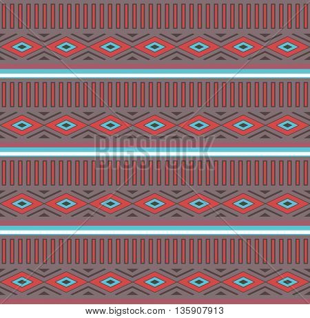 Tribal Boho Seamless Pattern with Rhombus. Ethnic Geometric Ornament. Aztec print. Boho Vector Pattern. Fabric, Wallpaper and Wrapping Texture.