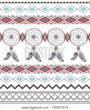 Tribal Boho Seamless Pattern with Dream Catcher. Ethnic Geometric Ornament. Boho Vector Pattern. Fabric and Wrapping Texture.