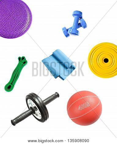 Set of sport equipment for fitness, bodybuilding and rehabilitation isolated on white background