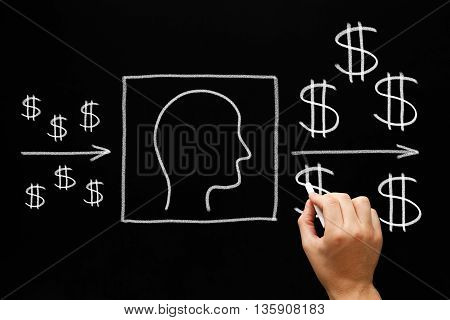 Hand drawing People Investment concept with white chalk on blackboard.