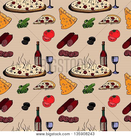 Pizza with food. Hand drawn vector stock illustration. Seamless background pattern.