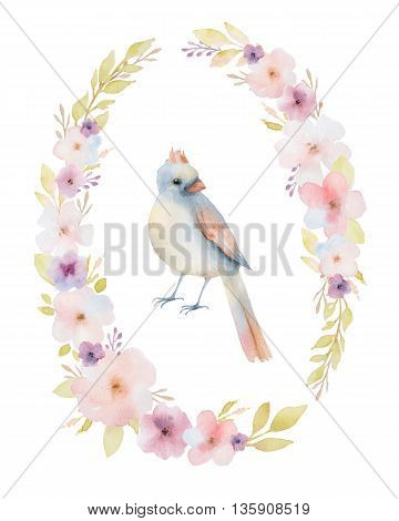 Hand painted watercolor oval frame with spring pink flowers and a bird. Spring flowers with space for your text. Perfect for greeting cards, wedding invitations and summer floral design.