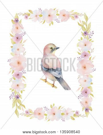 Hand painted watercolor rectangular frame with spring pink flowers and a bird. Spring flowers with space for your text. Perfect for greeting cards, wedding invitations and summer floral design.