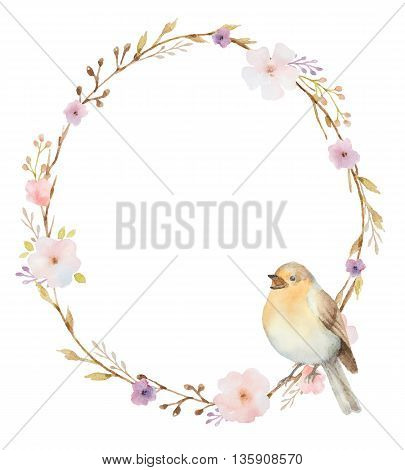 Hand painted watercolor oval frame with spring pink flowers and a bird. Spring flowers with space for your text. Watercolor flower background.