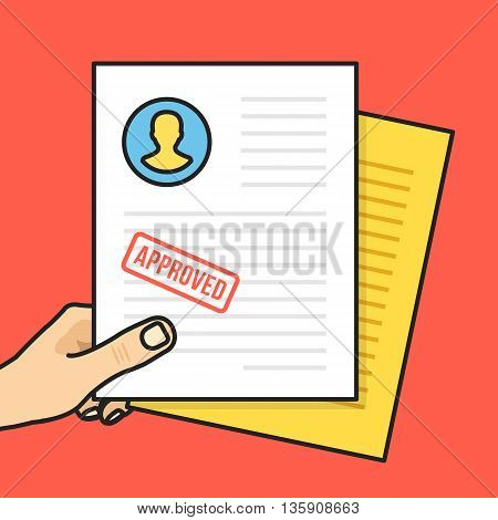 Hand holding approved job application. Approved CV with stamp. Creative thin line flat design graphic elements for banners, web sites, infographics, printed materials. Cartoon vector illustration