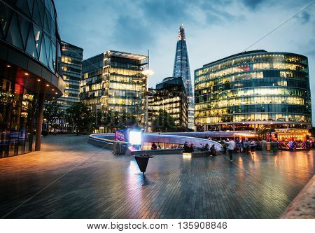 LONDON, UK JUNE 10, 2016 - A long exposure shot of The Shard and City Hall at Night