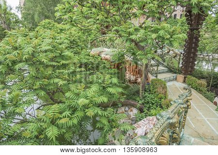 BURGAS, RAVADINOVO, BULGARIA - MAY 4: Beautiful pond and footbridges surrounded with trees, on May 4, 2016 in Burgas, Ravadinovo, Bulgaria.
