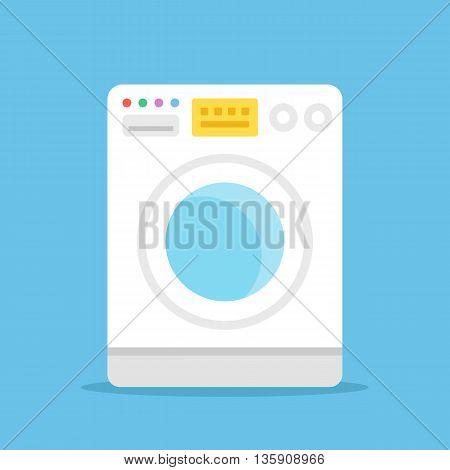 Vector washing machine. White washer isolated on blue background. Modern flat design vector illustration