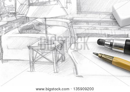 Interior Freehand Picture Of Living Room With Pencils And Eraser