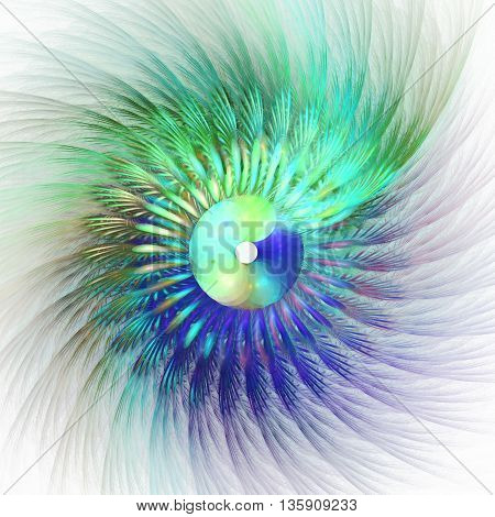 Peacock feathers. Angel wings. 3D illustration. Sacred geometry. Mysterious psychedelic relaxation pattern. Fractal abstract texture. Digital artwork graphic design astrology alchemy magic.